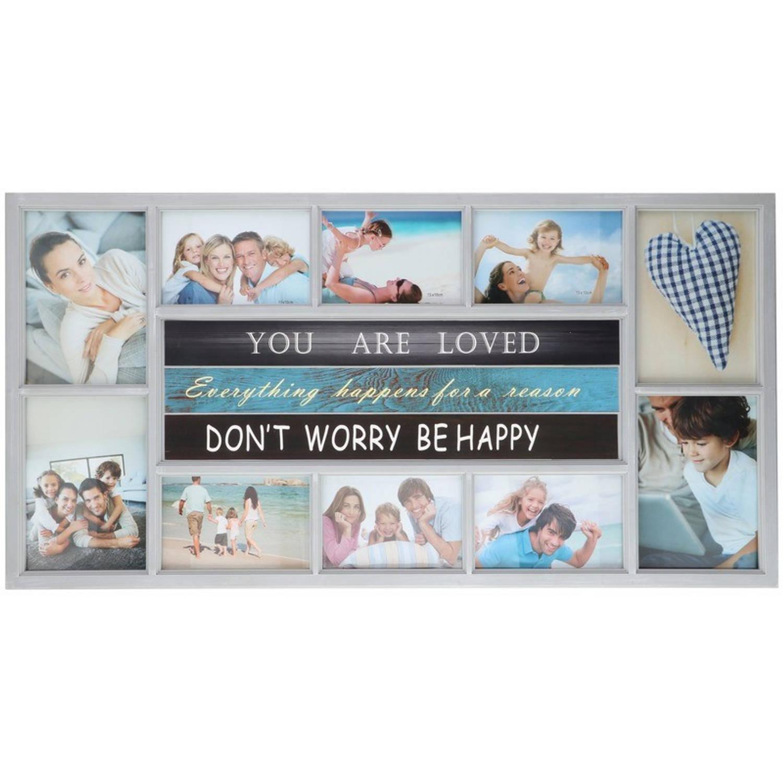 Afbeelding van Multi witte fotolijst Be Happy 74 x 38 cm
