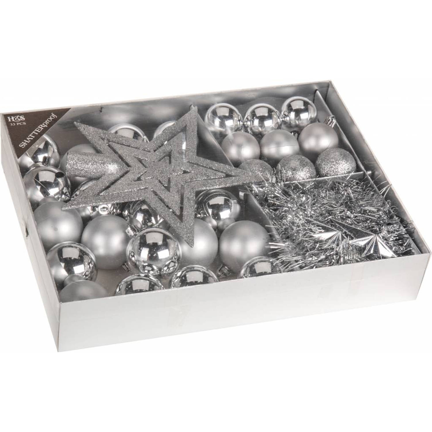 Home & styling collection 33-delige plastic kerstballen set zilver