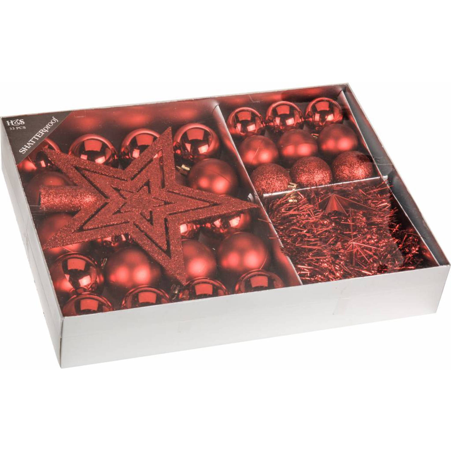 Home & styling collection 33-delige plastic kerstballen set rood
