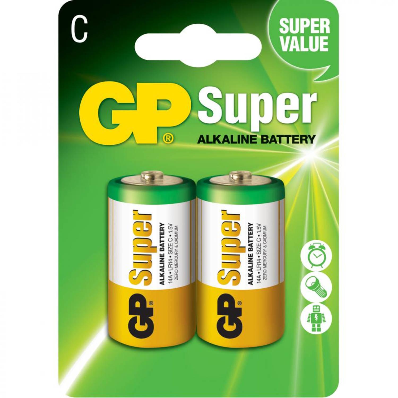GP Super Alkaline batterijen C/LR14 - 2 stuks