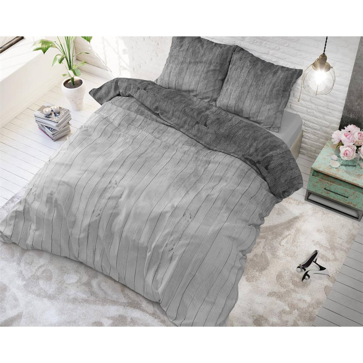 sleeptime wood fresh 2 grey dekbedovertrek lits jumeaux 240 cm blokker. Black Bedroom Furniture Sets. Home Design Ideas