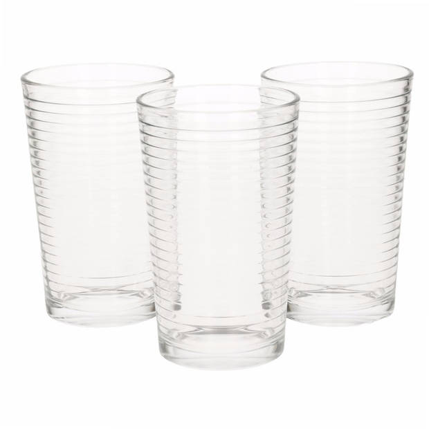 3x stuks longdrink ribbel glazen 300 ml - waterglazen - frisdrankglazen setje