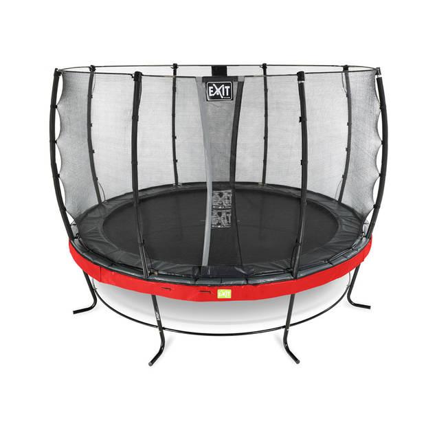 EXIT Elegant trampoline met veiligheidsnet Economy rond - 366 cm - rood
