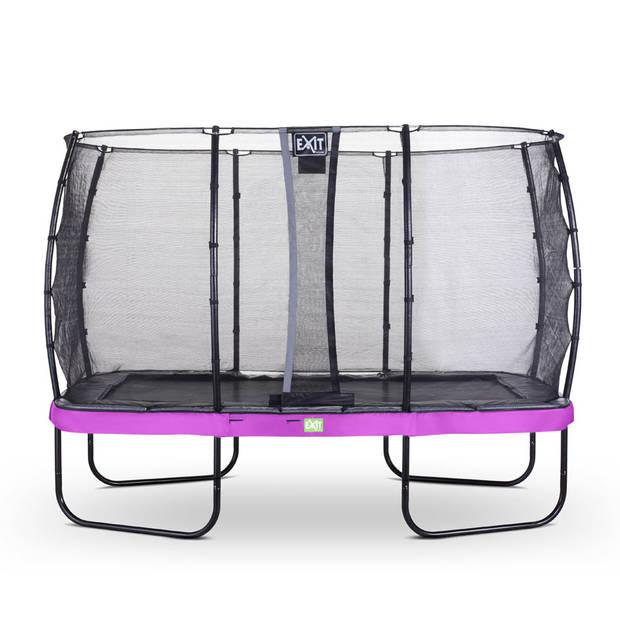 EXIT Elegant trampoline met veiligheidsnet Economy rechthoekig - 244 x 427 cm - paars