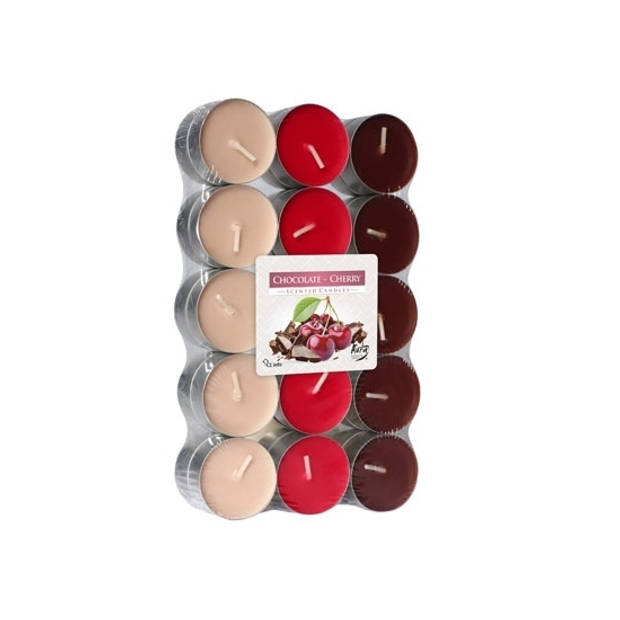 30x stuks Waxinelichtjes/theelichten chocolade kersen geurkaarsen 4 branduren - Woon accessoires kaarsen