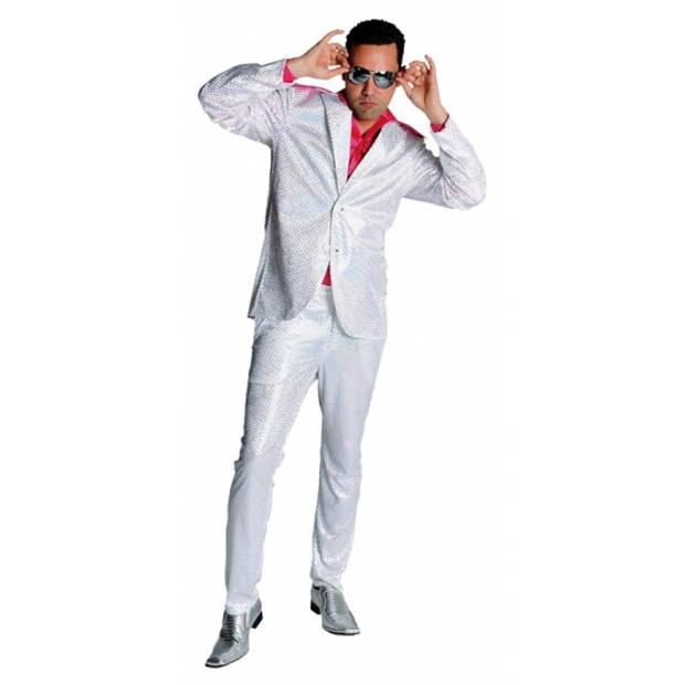 Wit disco glitter pak voor heren 60-62 (XL)