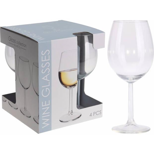 4x Wijnglazen transparant set 430 ml - 4-delig - wijnglas/drinkglazen