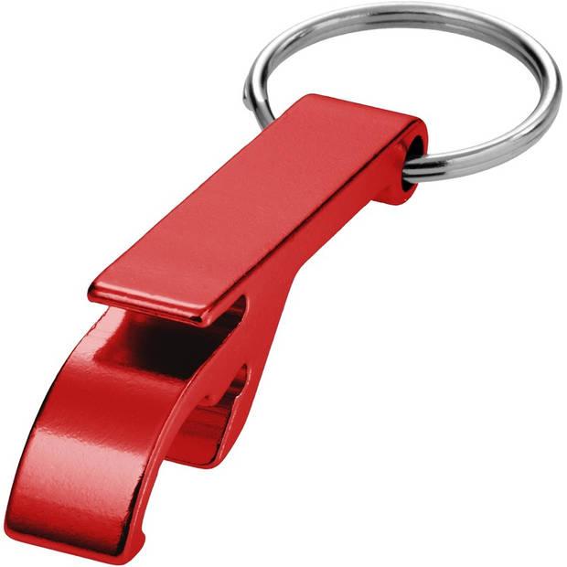 Flesopeners met sleutelhanger rood 6 cm - Voordelige weggevertjes