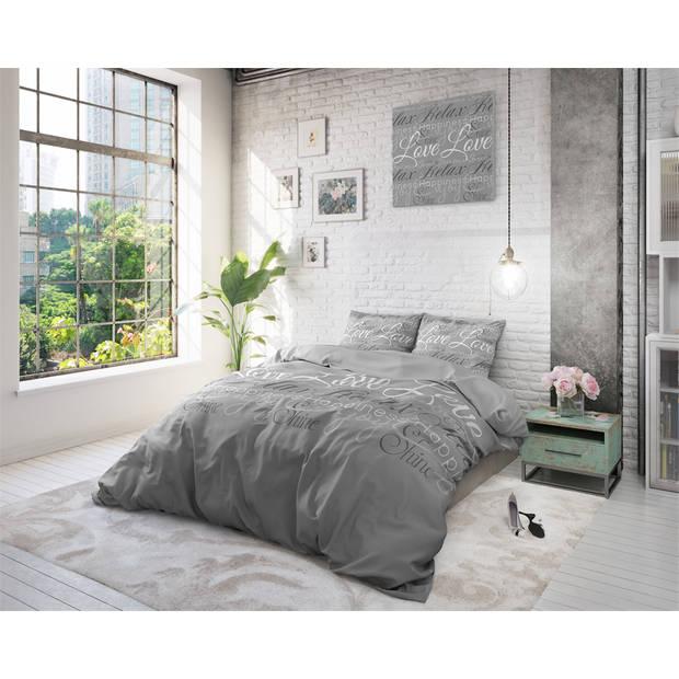 Sleeptime love and relax grey - dekbedovertrek: 1-persoons (140 cm)