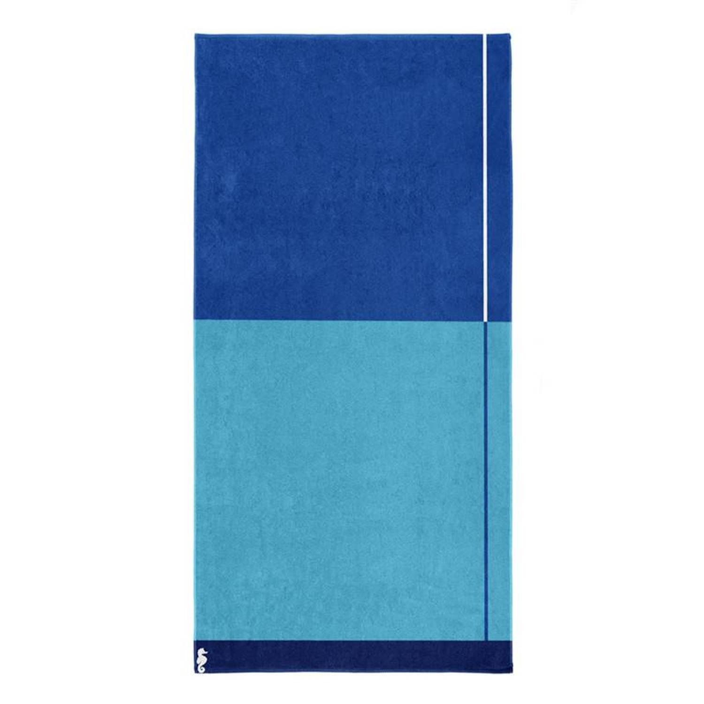 Seahorse Block strandlaken - 100% katoen - 100x180 cm - Blue