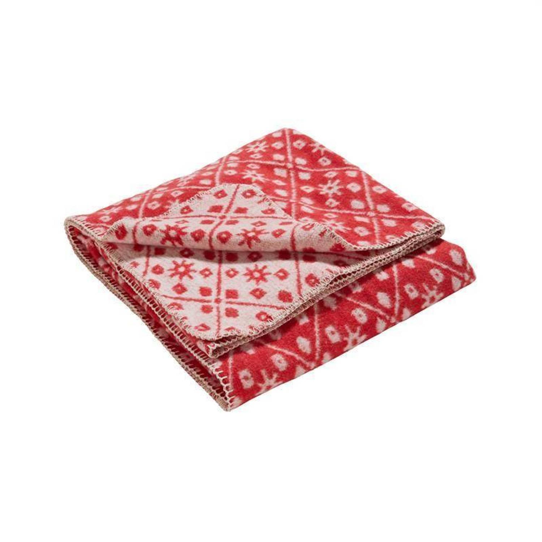 Damai Brann plaid - 80% katoen - 15% polyester - 5% overige - 125x170 cm - Rood