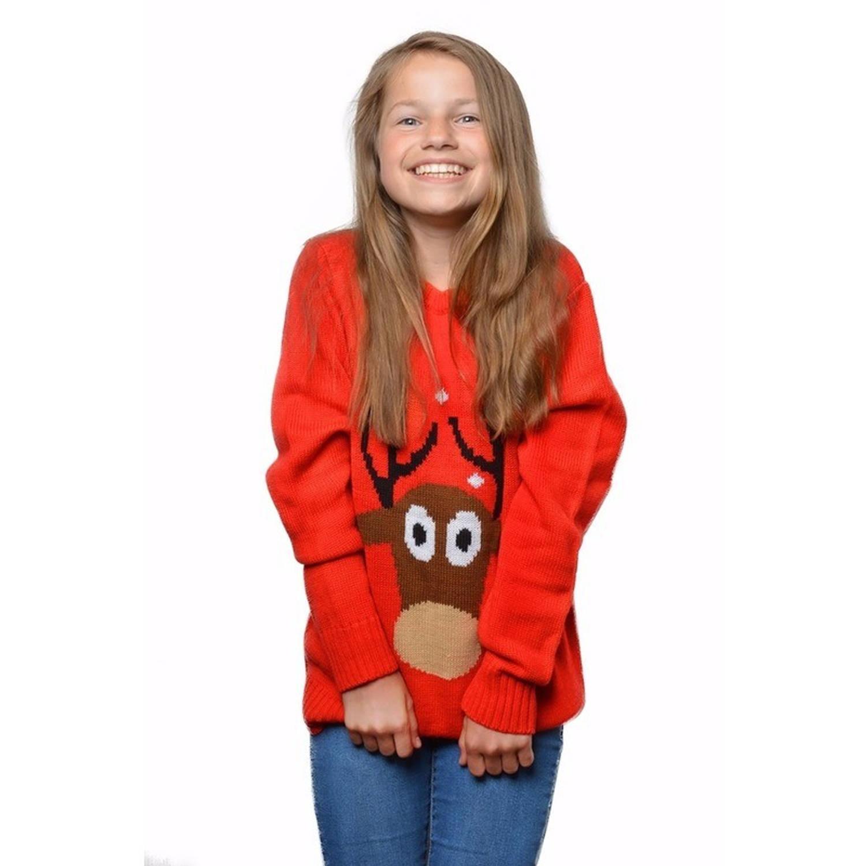 Image of Rode kersttrui met rendier voor kinderen / Unisex - foute kersttruien 7/8 jaar (128/134)