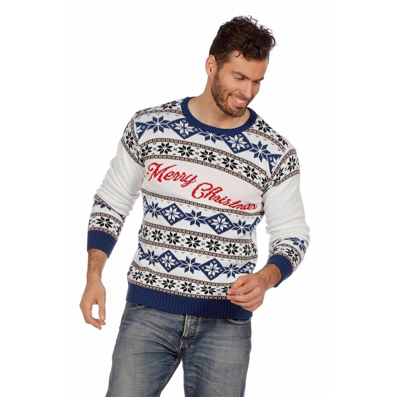 Witte kersttrui Merry Christmas voor dames en heren - Unisex - foute kersttruien 54 (XL)