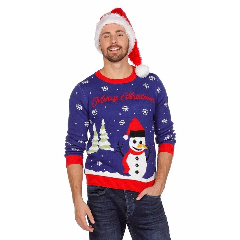 Uniseks Kersttrui.Blauwe Kersttrui Met Sneeuwpop Voor Dames En Heren Unisex Foute