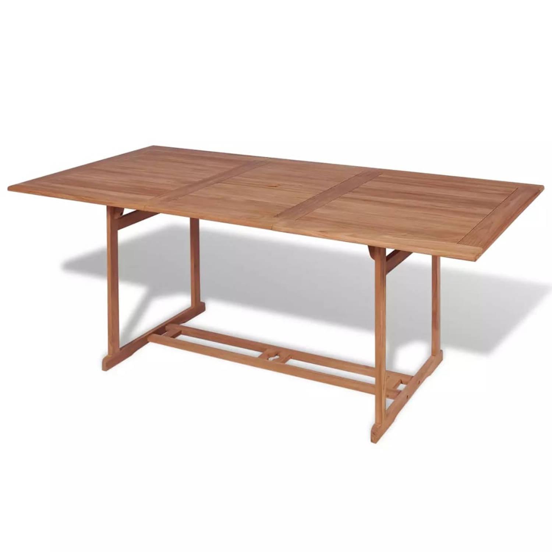 vidaXL Eettafel voor buiten rechthoekig 180x90x75 cm teak