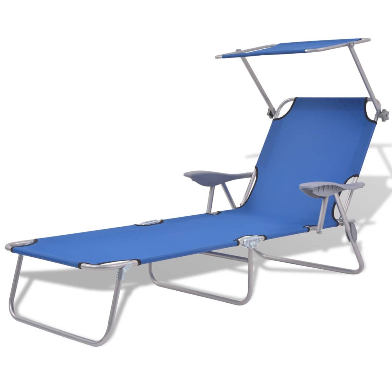 vidaXL Ligbed met luifel 58x189x27 cm staal blauw