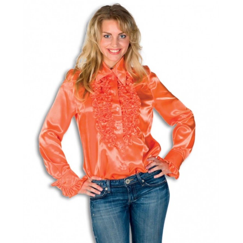 Rouches blouse oranje dames 38 (m)