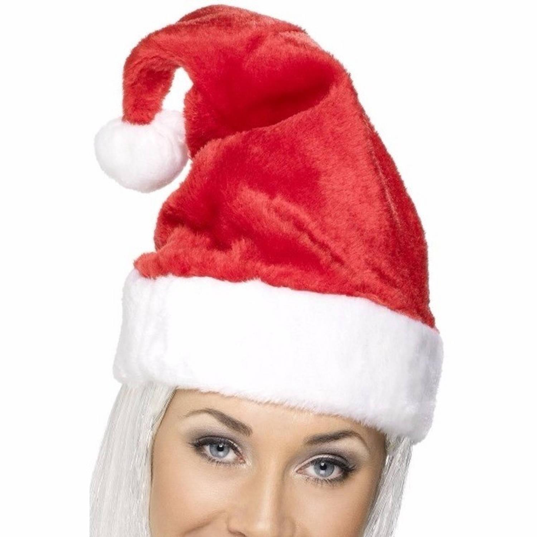 6 pluche luxe kerstmutsen