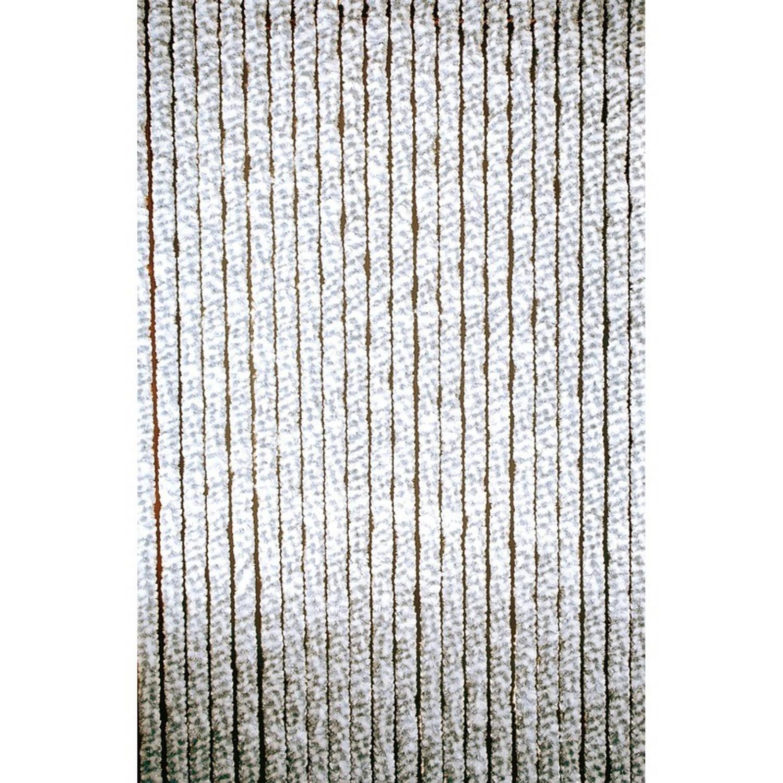 Deurgordijn kattenstaartgordijn wit/grijs - 90 x 220 cm - vliegengordijn