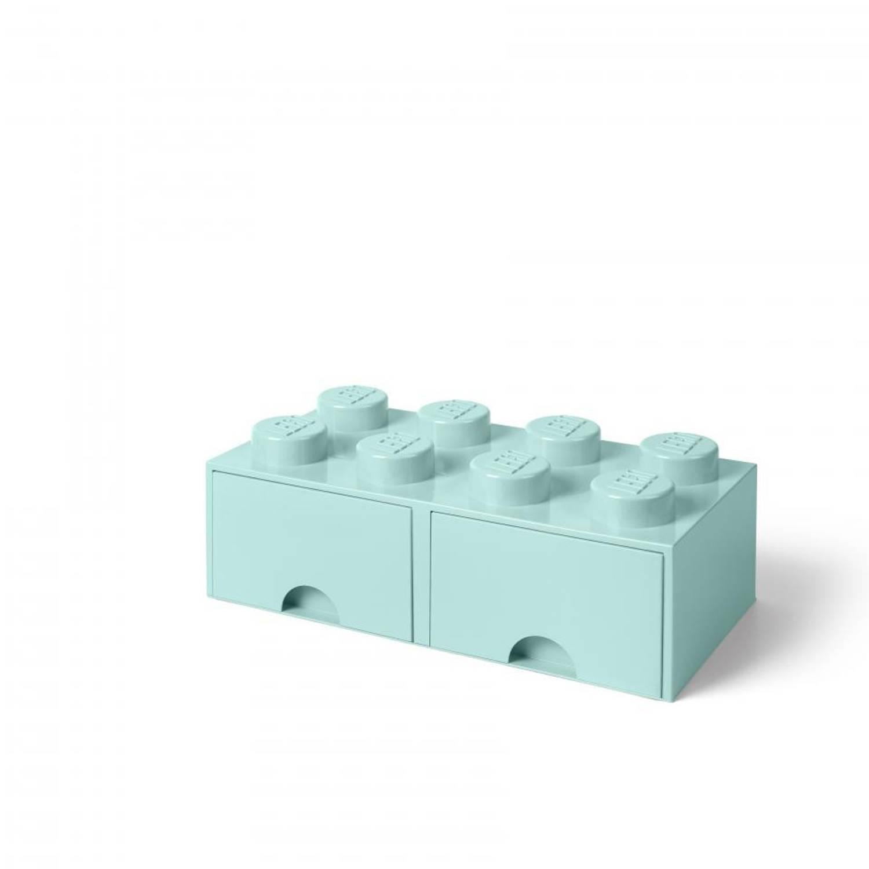 LEGO opberglade Brick 8 - Aqua Blue