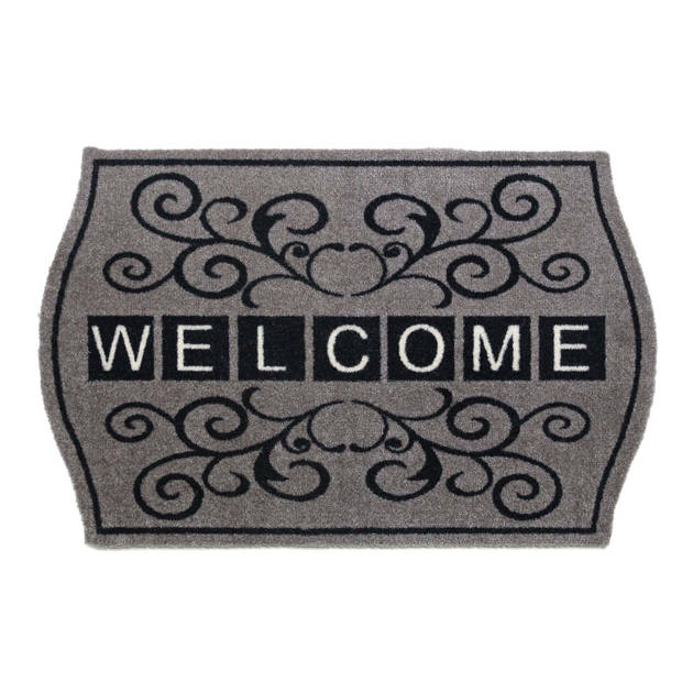 Droogloopmat Welcome grijs 50x75 cm