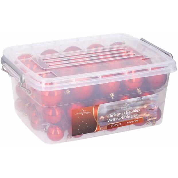 Kerstballen/kerstversiering opbergbox met 70x rode kerstballen - voordelige, kunststof kerstballen