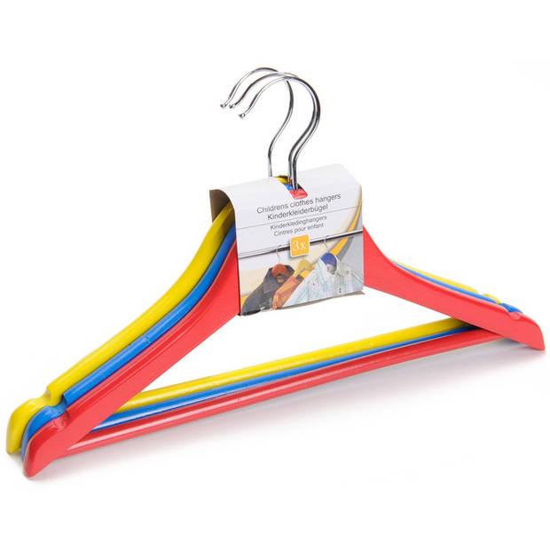 3x stuks luxe gekleurde kledinghangers voor kinderen hout - Hangers voor kinderkleding - Kinderkledinghangers