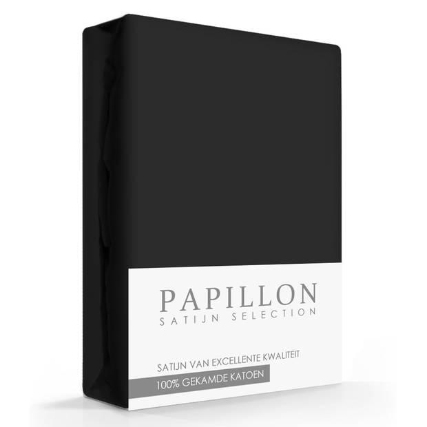 Satijn Hoeslaken Papillon Zwart-90 x 200 cm