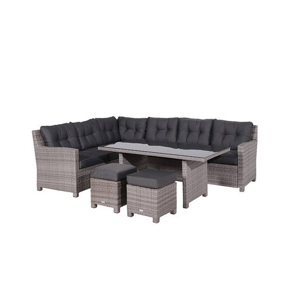 Garden impressions bloomington lounge diningset 5-delig organic grey