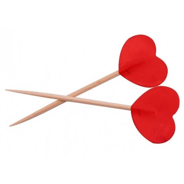 Valentijn - Rode hartjes cocktailprikkers 150 stuks