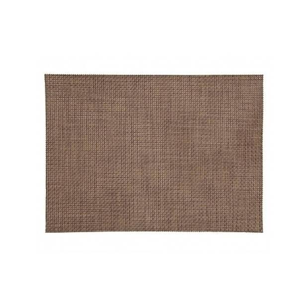 4x gevlochten placemats bruin - afneembaar kunststof - 45 x 30 cm