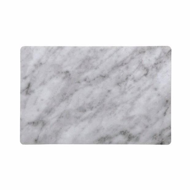 6x Grijs met witte placemat van pvc 43 x 28 cm