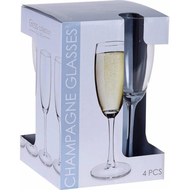 4x stuks Champagne glazen set van 180 ml - Champagneglazen