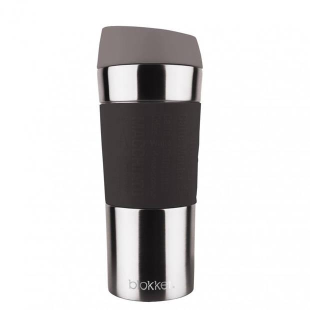 Blokker thermosbeker - RVS/siliconen - zwart