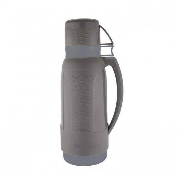 Blokker thermoskan met 2 bekers - grijs - 1 L
