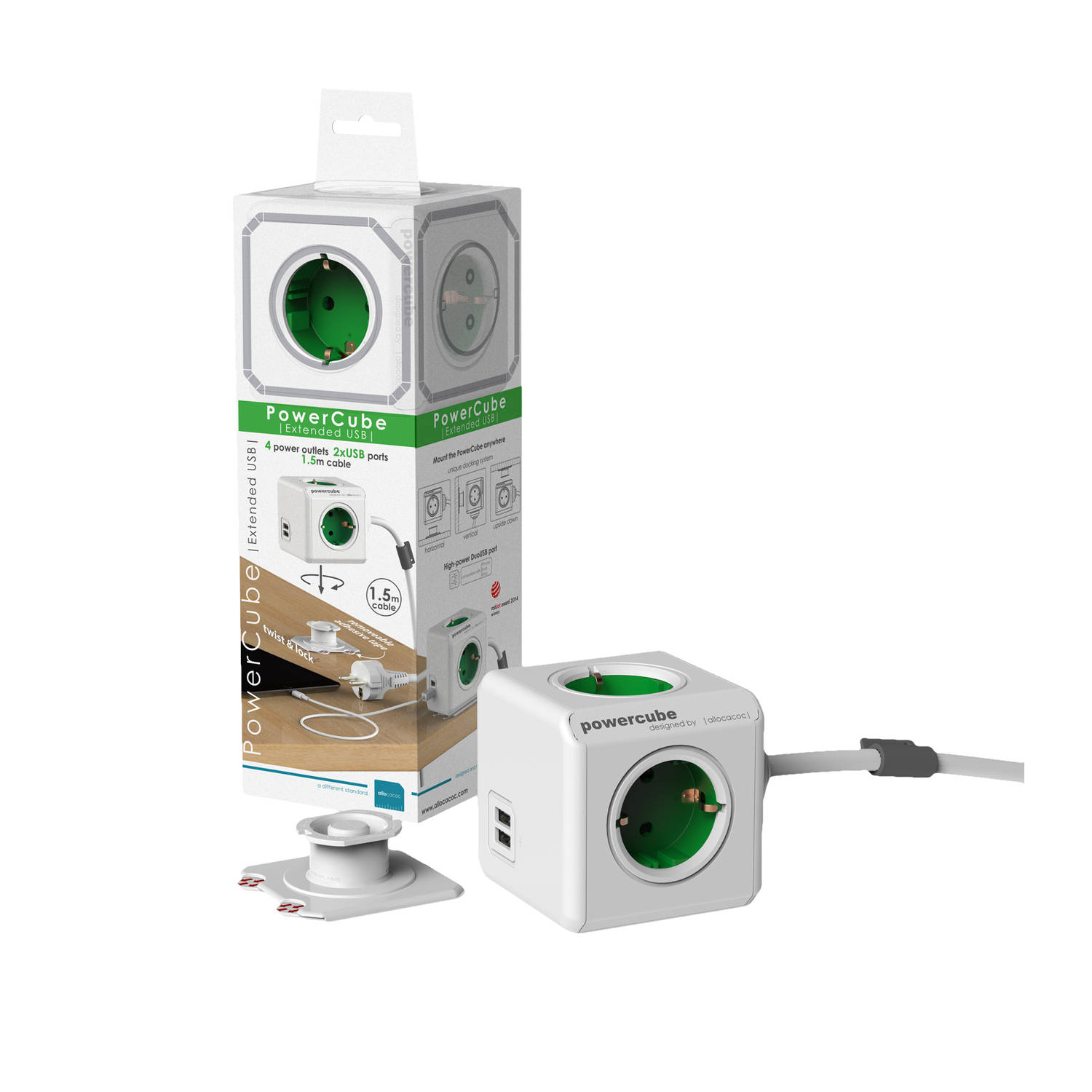 Allocacoc allocacoc PowerCube Extended USB incl. 1,5 m kabel groen Type F (1406GN-DEEUPC)