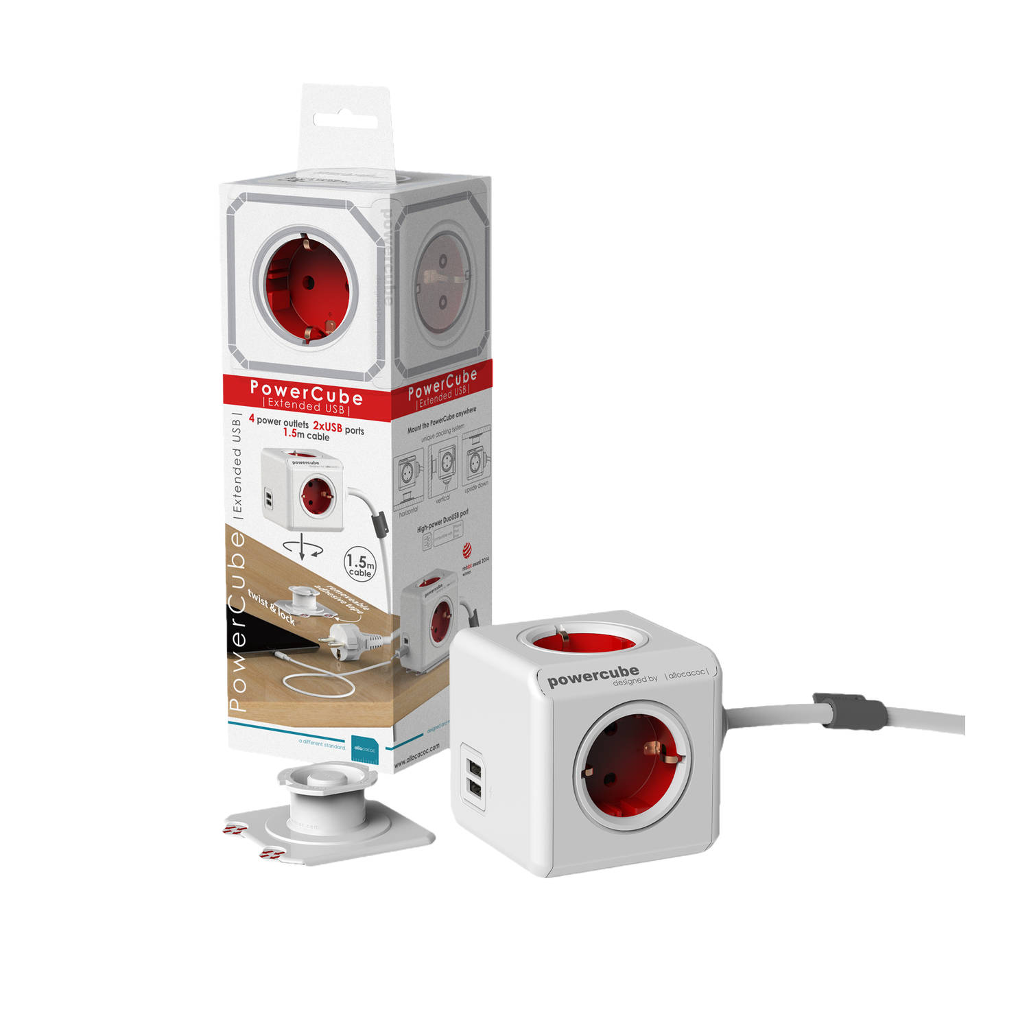 Allocacoc allocacoc PowerCube Extended USB incl. 1,5 m kabel rood Type F (1406RD-DEEUPC)