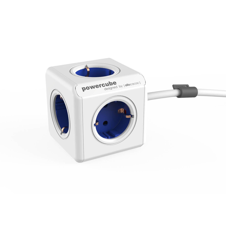 Powercube extended 5 stopcontacten - blauw