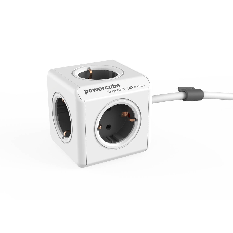Powercube extended 5 stopcontacten - grijs