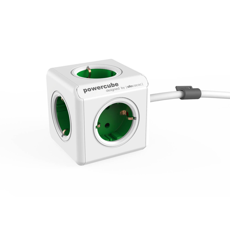 Powercube extended 5 stopcontacten - groen