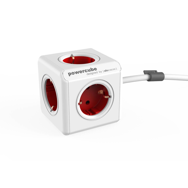 Powercube extended - 3m kabel - 5 stopcontacten - rood