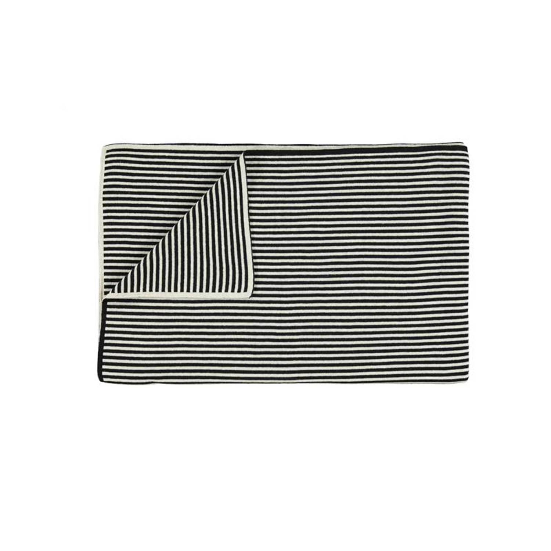 Marc O'Polo Marc O'Polo Arvid plaid - 100% katoen - 130x170 cm - Black
