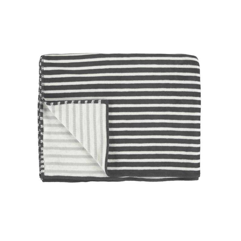 Marc O'Polo Marc O'Polo Veln fleece plaid - 58% katoen - 35% acryl - 7% polyester - 150x200 cm - Anthracite