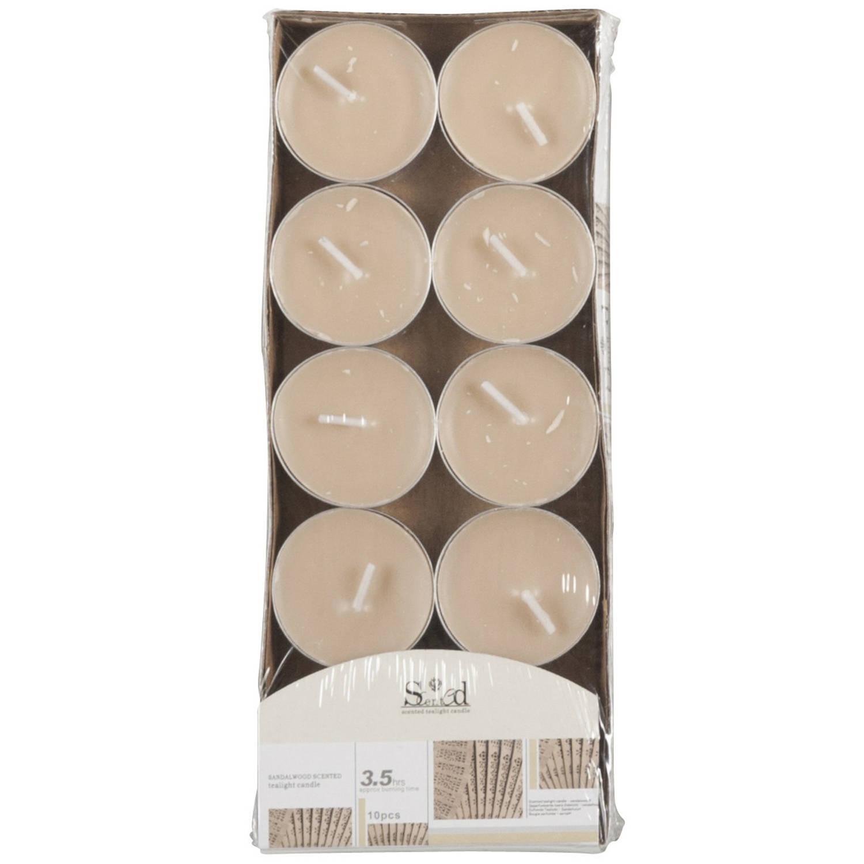 Korting 10x Geurtheelichtjes Cederhout beige 3,5 Branduren Geurkaarsen Cederhoutgeur Waxinelichtjes