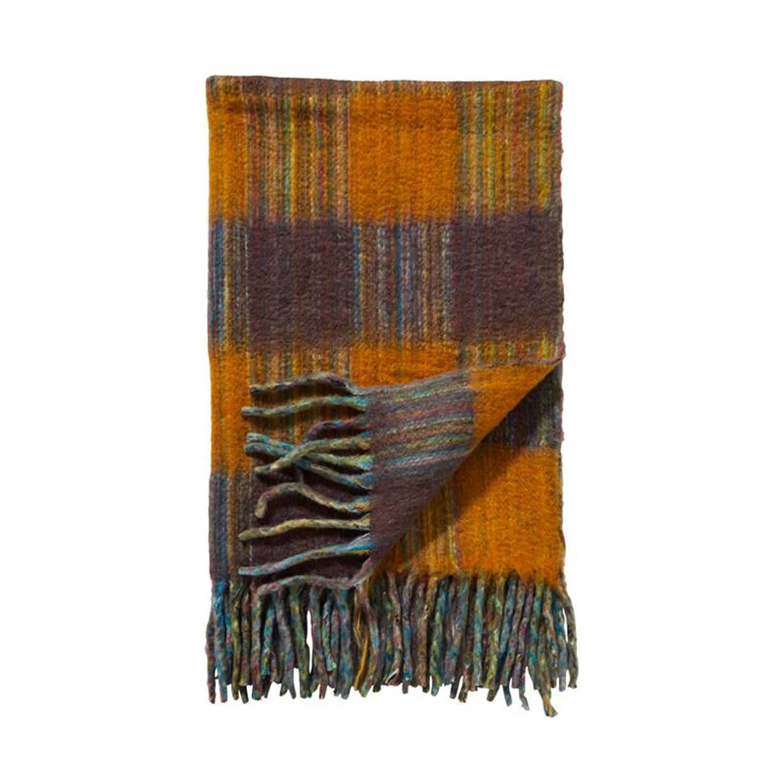 Damai Mali plaid - 57% acryl - 23% polyester - 20% wol - 130x170 cm - Geel