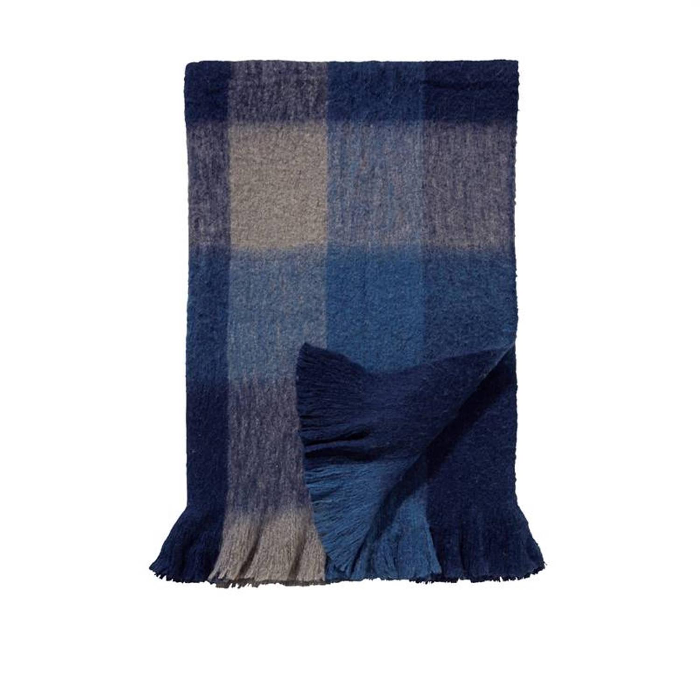 Damai Durban plaid - 57% acryl - 23% polyester - 20% wol - 130x170 cm - Blauw