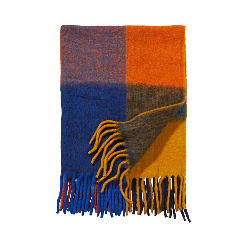 Damai Madagascar plaid - 57% acryl - 23% polyester - 20% wol - 130x170 cm - Multi, Yellow