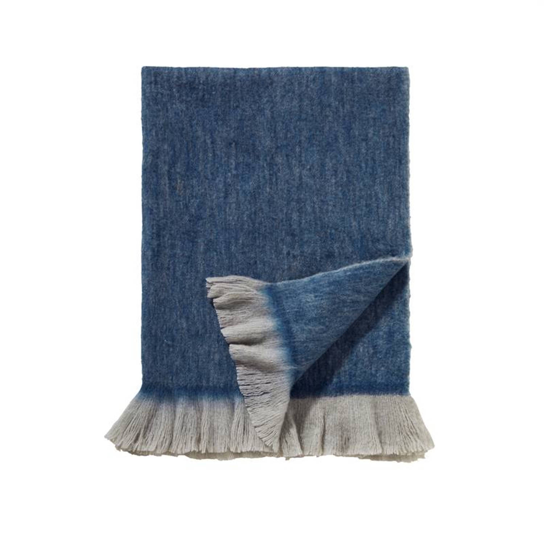 Damai Sutherland plaid - 57% acryl - 23% polyester - 20% wol - 130x170 cm - Blauw