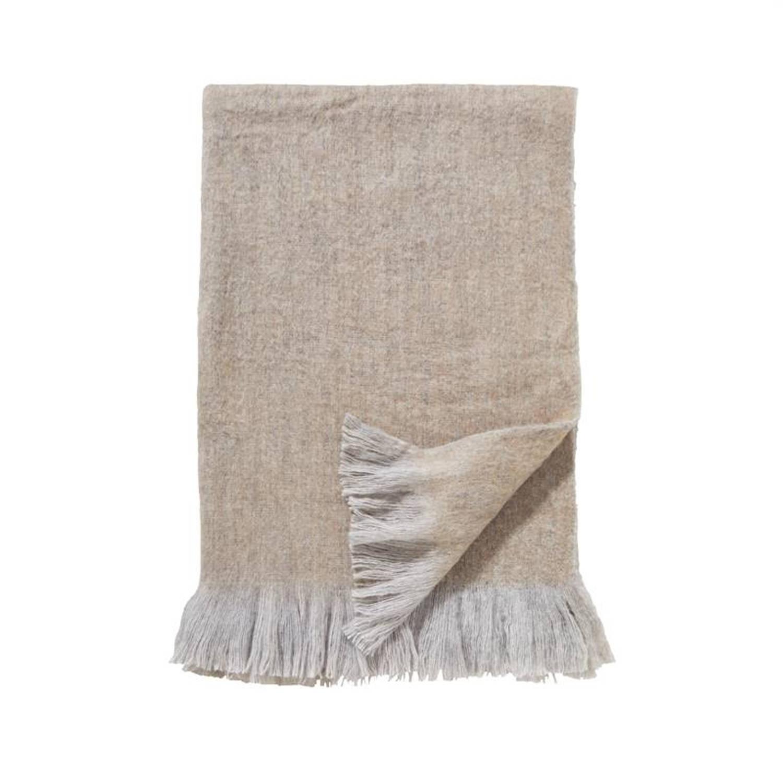Damai Sutherland plaid - 57% acryl - 23% polyester - 20% wol - 130x170 cm - Zand