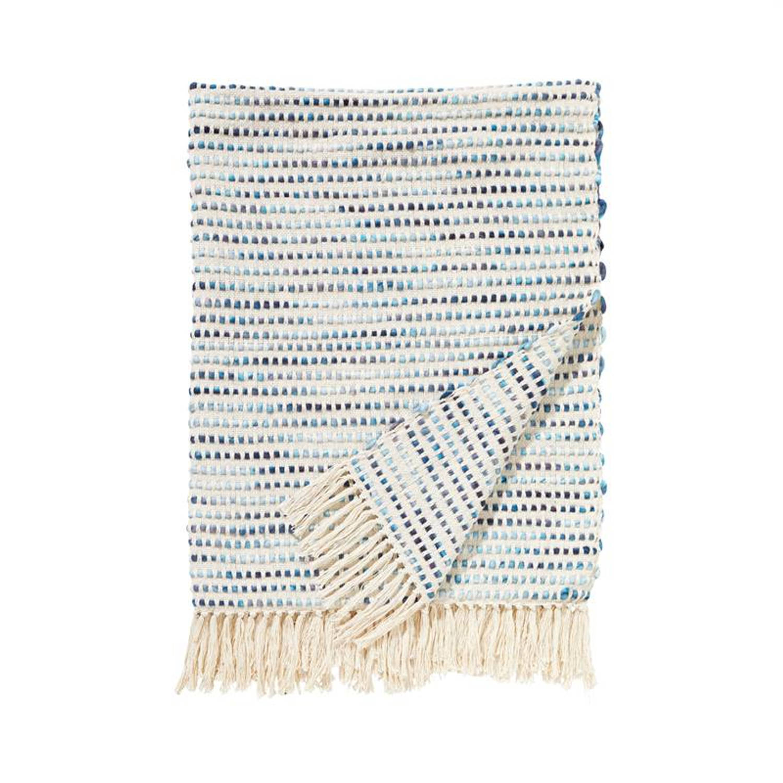 Damai Mombassa plaid - 70% katoen - 30% acryl - 130x170 cm - Blauw